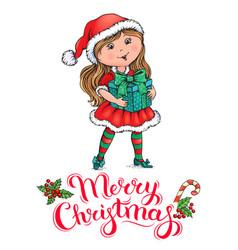 Santa claus girl christmas card vector