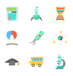 Schooling icons set cartoon style vector