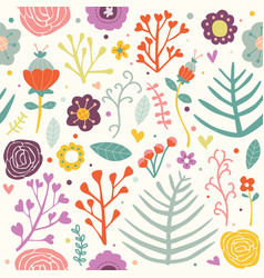 Seamless pattern flowers bouncy vibrant color illu vector