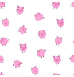 Seamless pattern with cute cartoon small pink vector