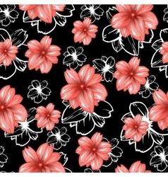 Seamless pattern with pink flowers on the black vector image
