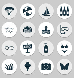 season icons set with paraplane boat gulls and vector image