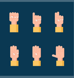 set counting hand signs communication concept vector image