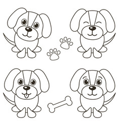 set cute dogs isolated on white vector image