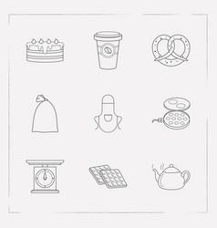 set of bakery icons line style symbols with waffle vector image