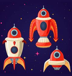 set of cartoon spaceships and rockets vector image