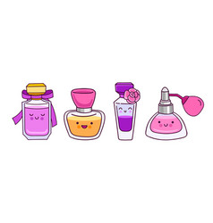 set of cute colorful perfume bottles vector image