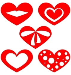 Set of patterns of red hearts on a white vector