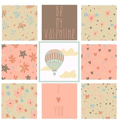 Set of romantic seamless patterns vector image