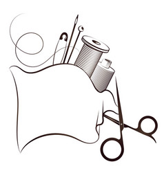 Sewing and cutting scissors and thread symbol vector