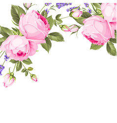 spring flowers bouquet of color bud garland label vector image