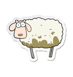 Sticker of a cartoon muddy sheep vector