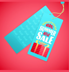 summer sale letters design template sun gift box vector image