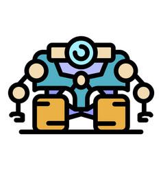 Super space robot icon color outline vector