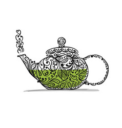 teapot sketch with green tea for your design vector image