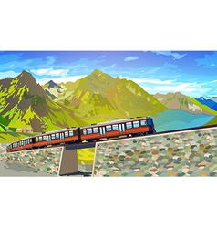 Train in Alps vector image