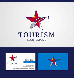 Travel herm flag creative star logo and business vector