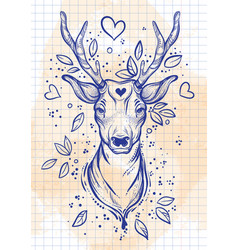 Vintage sketch style beautibul deer head vector