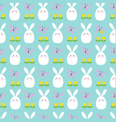 white easter bunnies tulips and butterflies vector image