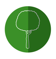 White silhouette round tree organic natural green vector