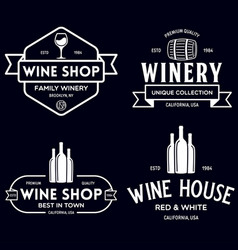 wine winery logo or icon emblem label for menu vector image