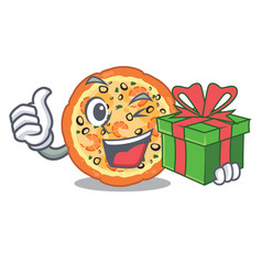 with gift seafood pizza in mascot shape vector image