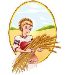Woman holding wheat ears vector