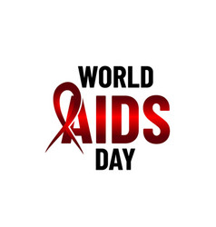 world aids day holding hands with red ribbon aids vector image