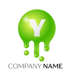 Y letter splash green dots and bubbles letter vector