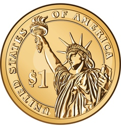 american money one dollar coin vector image
