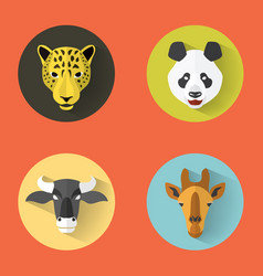 animal portraits with flat design vector image vector image
