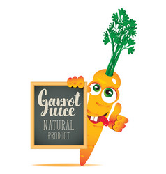 Banner for fresh juice with funny carrot vector