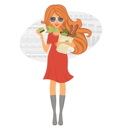 Beauty shopping for grocery vector image vector image