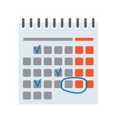 calendar with handmade marks vector image