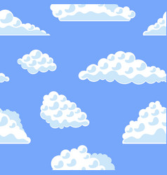 cartoon clouds on the blue sky background pattern vector image