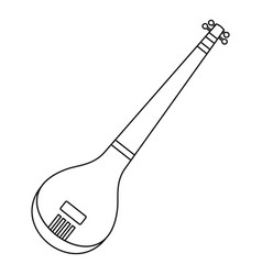 indian guitar icon outline style vector image vector image