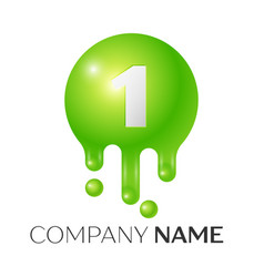 number one splash logo green dots and bubbles vector image vector image
