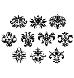 Retro ornamental flowers with dainty vector image