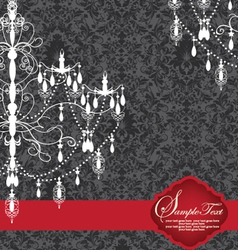 Romantic Invitation Card Design With Chandelier vector image