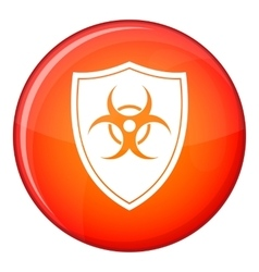 Shield with a biohazard sign icon flat style vector