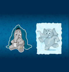 stickers elephants he is sitting under a blanket vector image