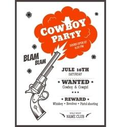 Cowboy party poster vector image vector image