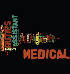 Medical assistant duties text background word vector