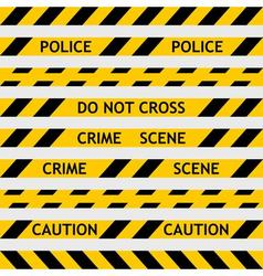 set yellow police tape enclosing for forensics vector image