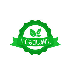 vegan badge round organic food logo with ribbon vector image vector image