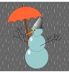 A sad snowman with umbrella in the rain vector image vector image