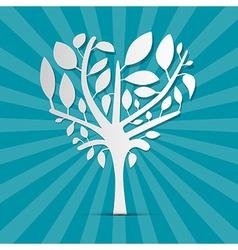 Abstract heart shaped tree on blue retro vector