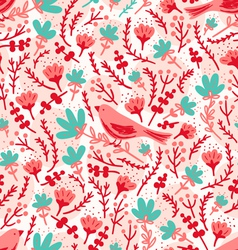 Birds and flowers pattern vector