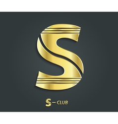 Golden symbol from alphabet Letter S vector image