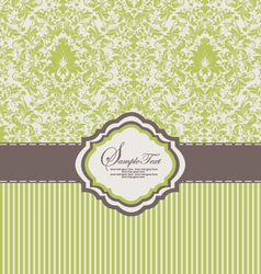 Green damask invitation card vector